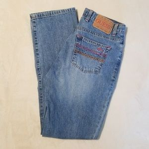 Vintage Guess Straight Leg Jean's with Pink Detail